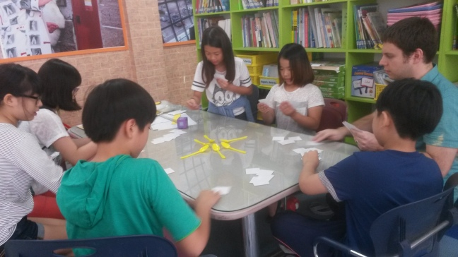 Teaching English using games in South Korea.