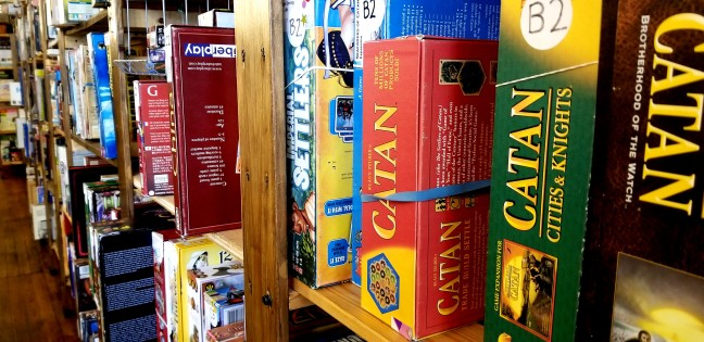 A shelf of board games